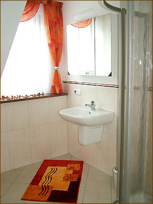 Badezimmer mit Dusche und WC sowie Fußbodenheizung in Lohmen ...
